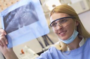 dentist holding dental x-ray